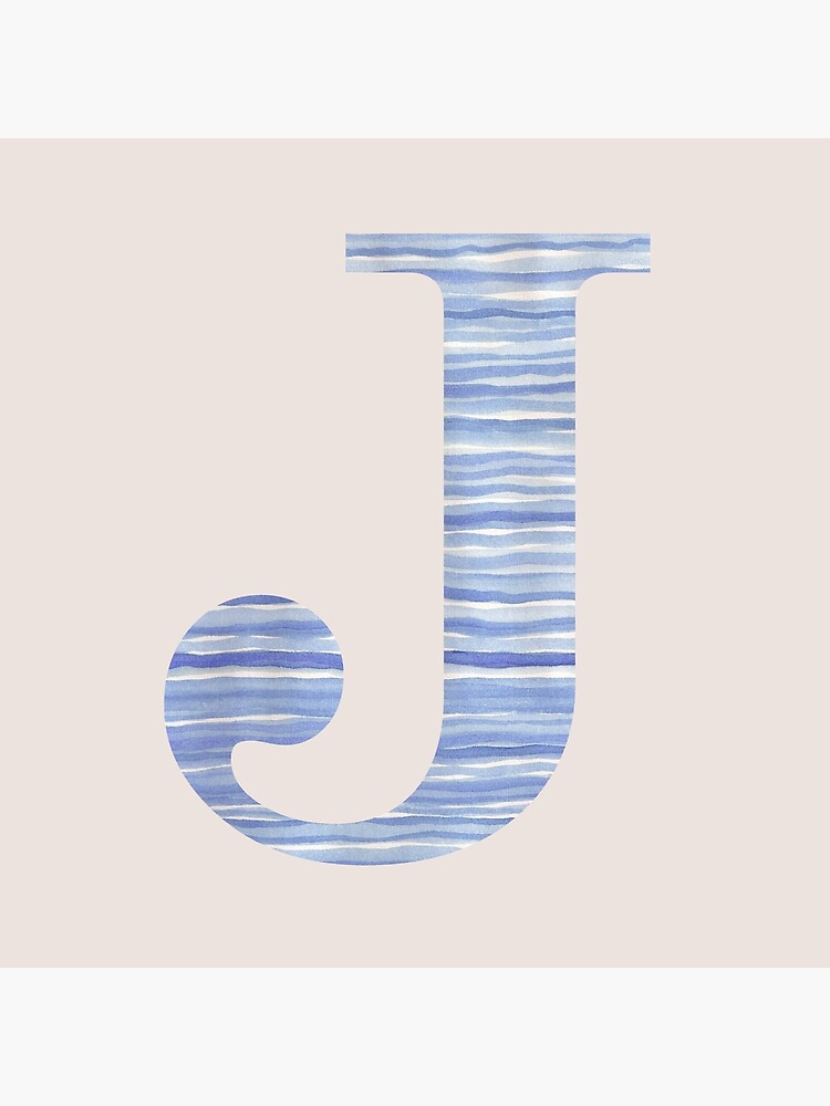 Letter J Blue Watercolor Stripes Monogram Initial by theartofvikki