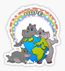 Rainbow Hippo World Hope  Sticker