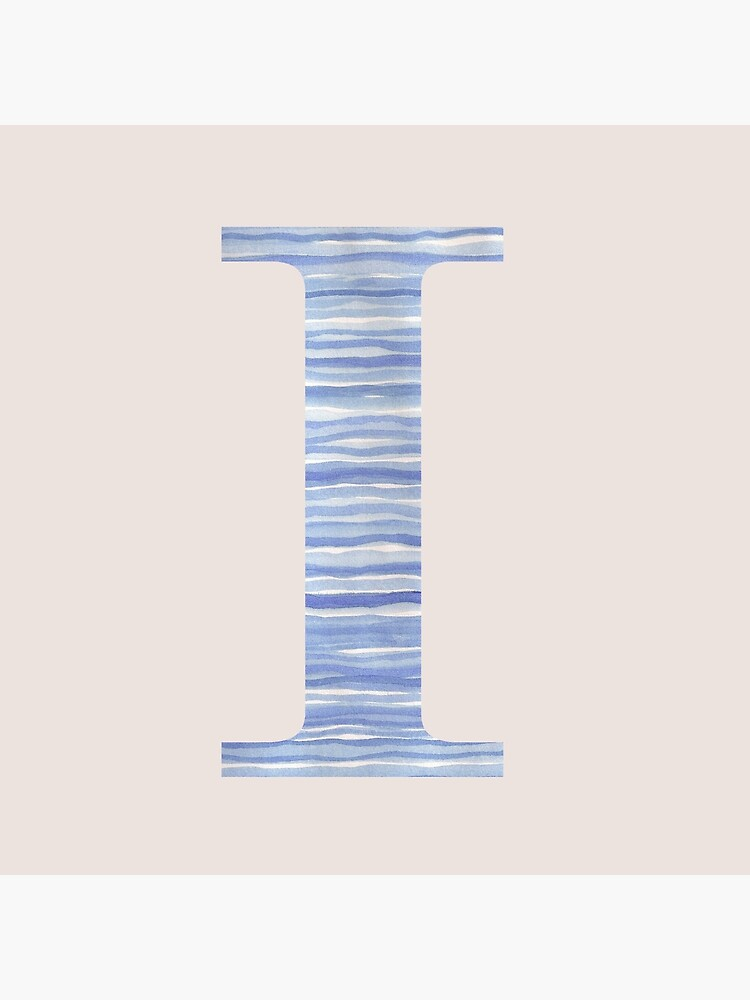 Letter I Blue Watercolor Stripes Monogram Initial by theartofvikki