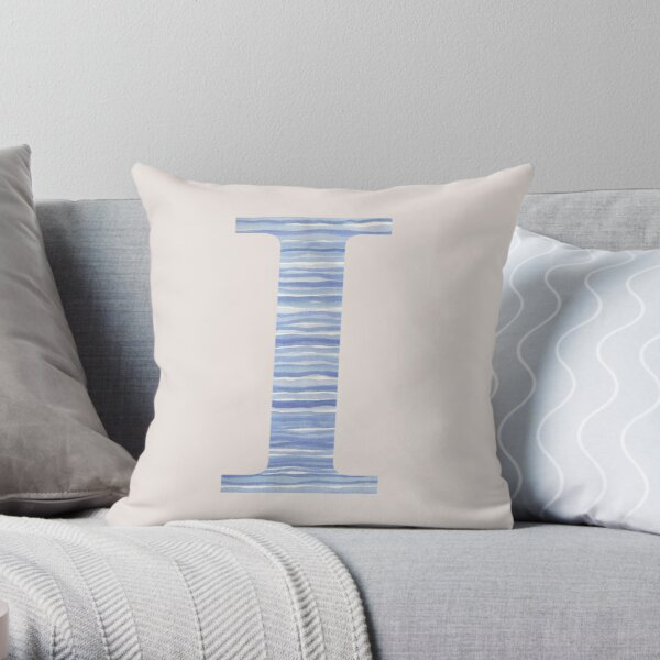 Letter I Blue Watercolor Stripes Monogram Initial Throw Pillow