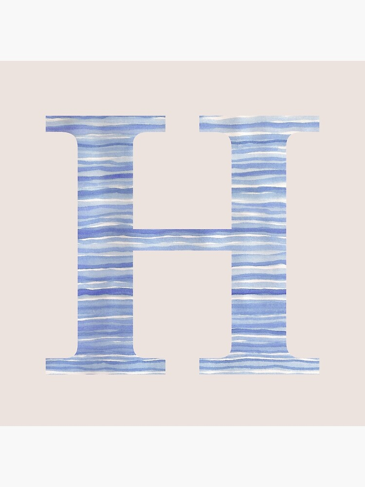 Letter H Blue Watercolor Stripes Monogram Initial by theartofvikki
