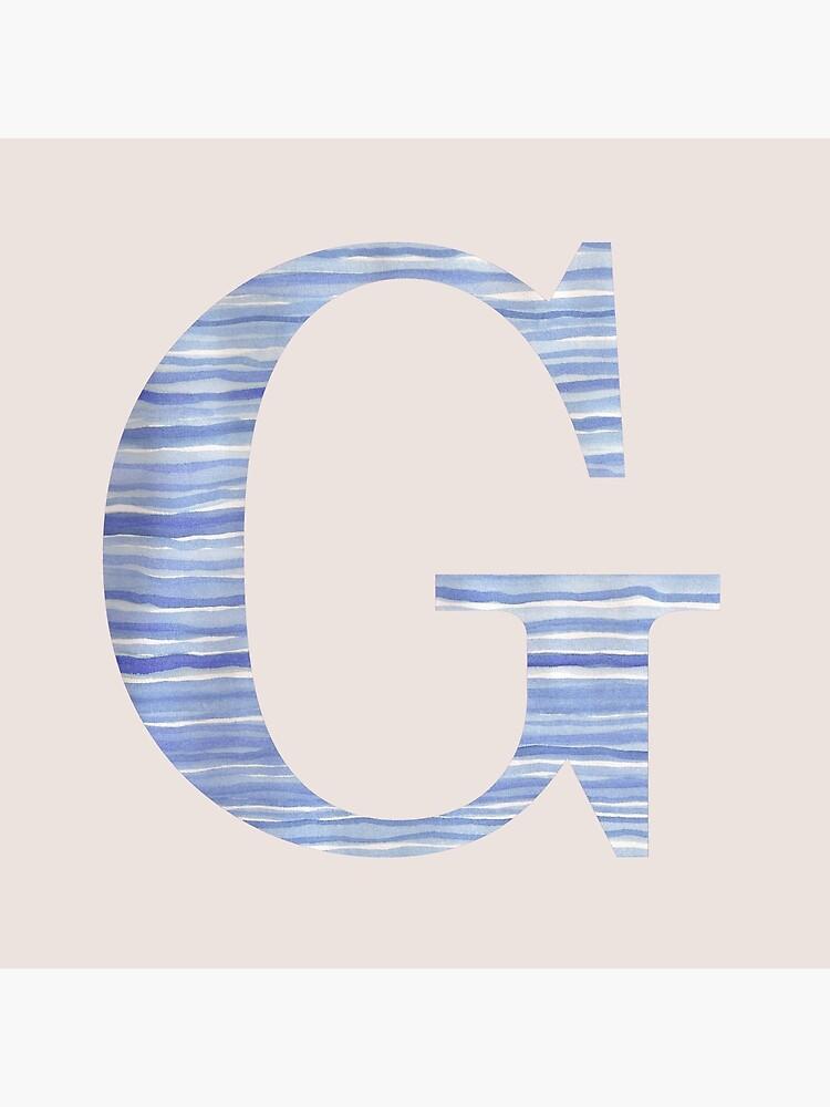 Letter G Blue Watercolor Stripes Monogram Initial by theartofvikki
