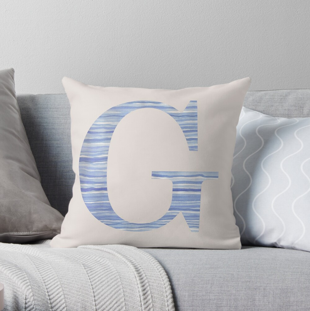 Letter G Blue Watercolor Stripes Monogram Initial Throw Pillow