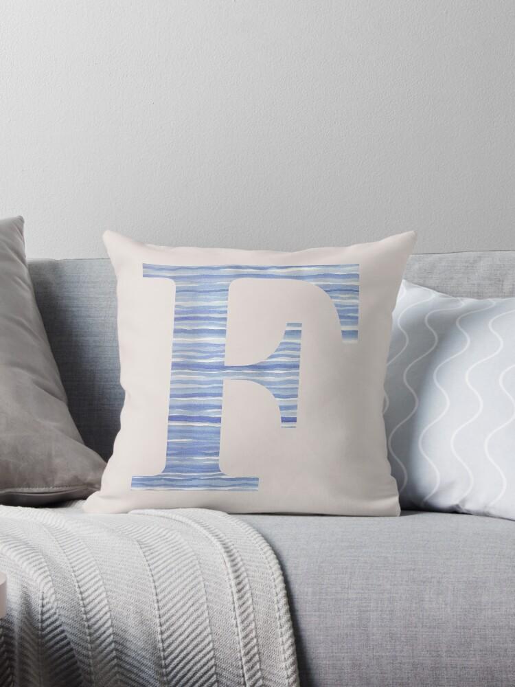 Letter F Blue Watercolor Stripes Monogram Initial by theartofvikki