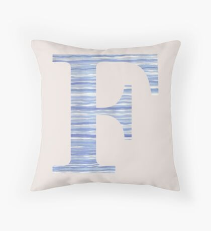 Letter F Blue Watercolor Stripes Monogram Initial Throw Pillow