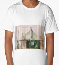 Old empty wine bottles behind the glass Long T-Shirt