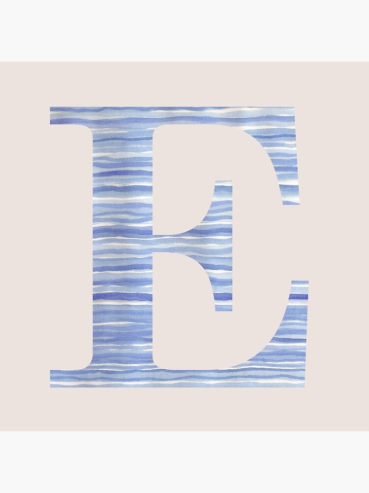 Letter E Blue Watercolor Stripes Monogram Initial by theartofvikki