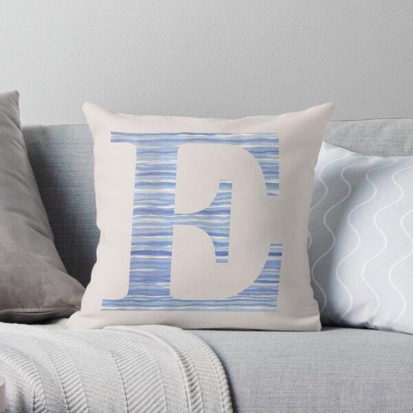 Letter E Blue Watercolor Stripes Monogram Initial Throw Pillow