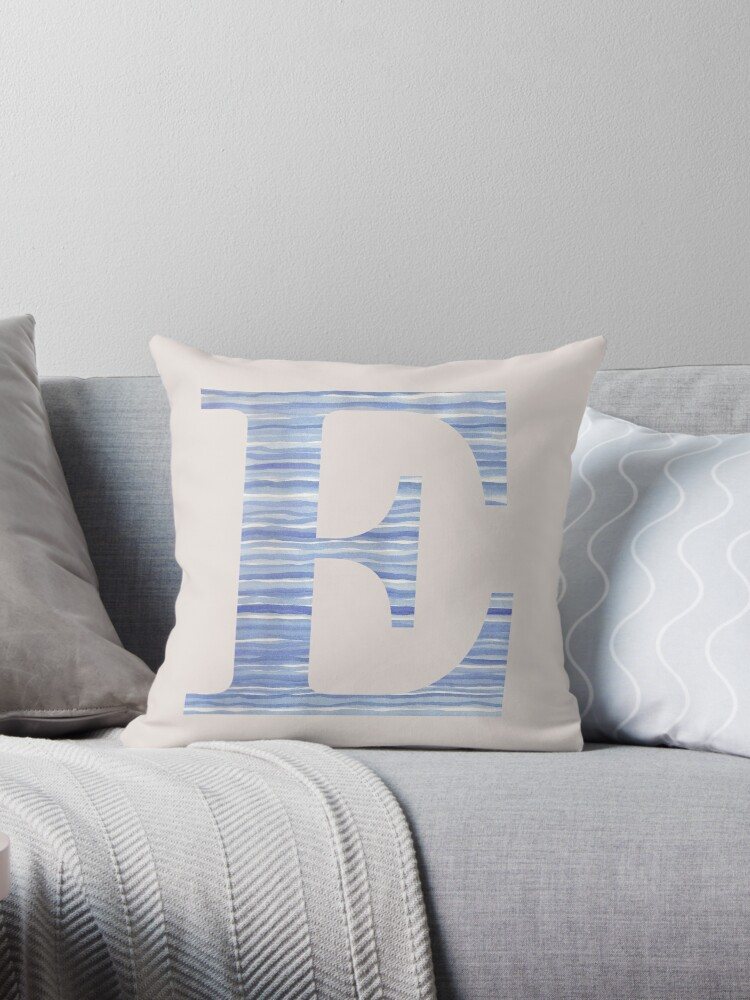 Letter E Blue Watercolor Stripes Monogram Initial by theartofvikki