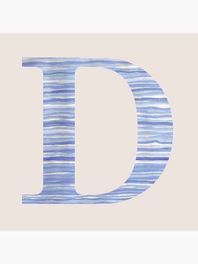Letter D Blue Watercolor Stripes Monogram Initial by theartofvikki