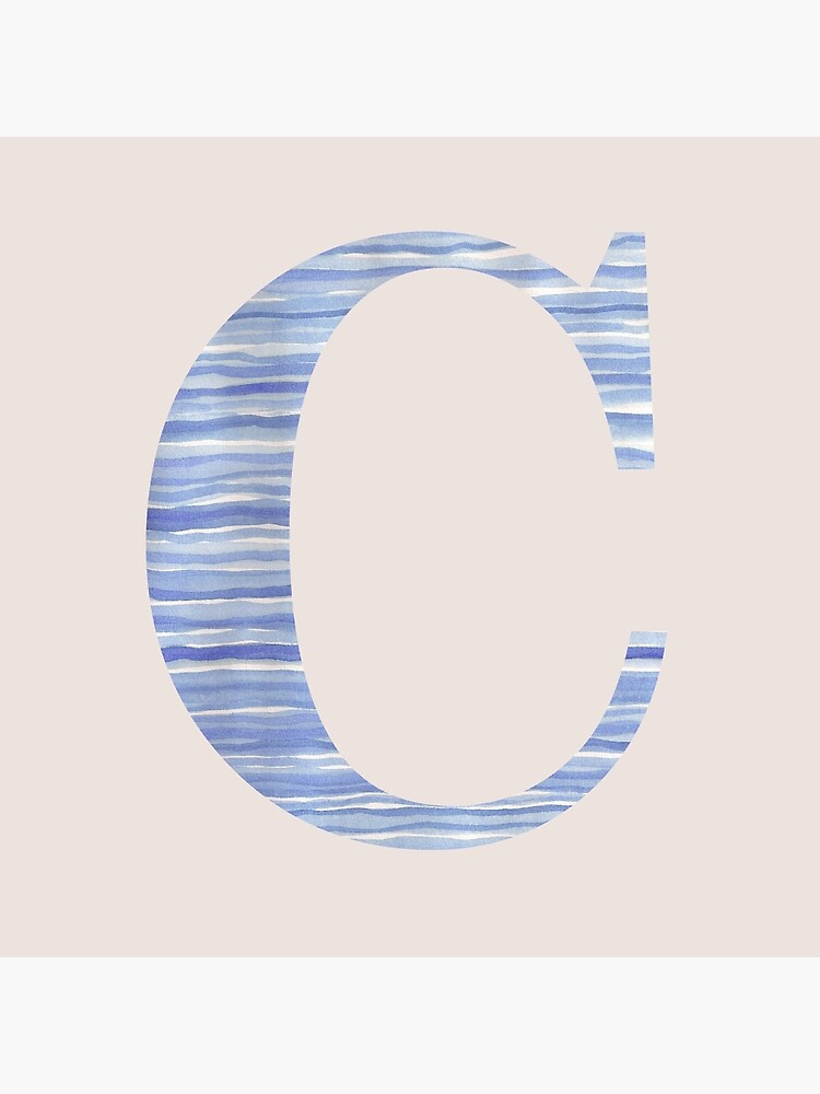 Letter C Blue Watercolor Stripes Monogram Initial by theartofvikki