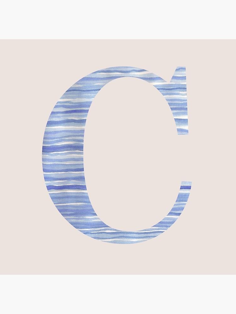Letter C Blue Watercolor Stripes Monogram Initial by theartofvikki
