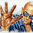 Tely Savalas painting portrait, movieposter by Star Portraits Soutsos Art