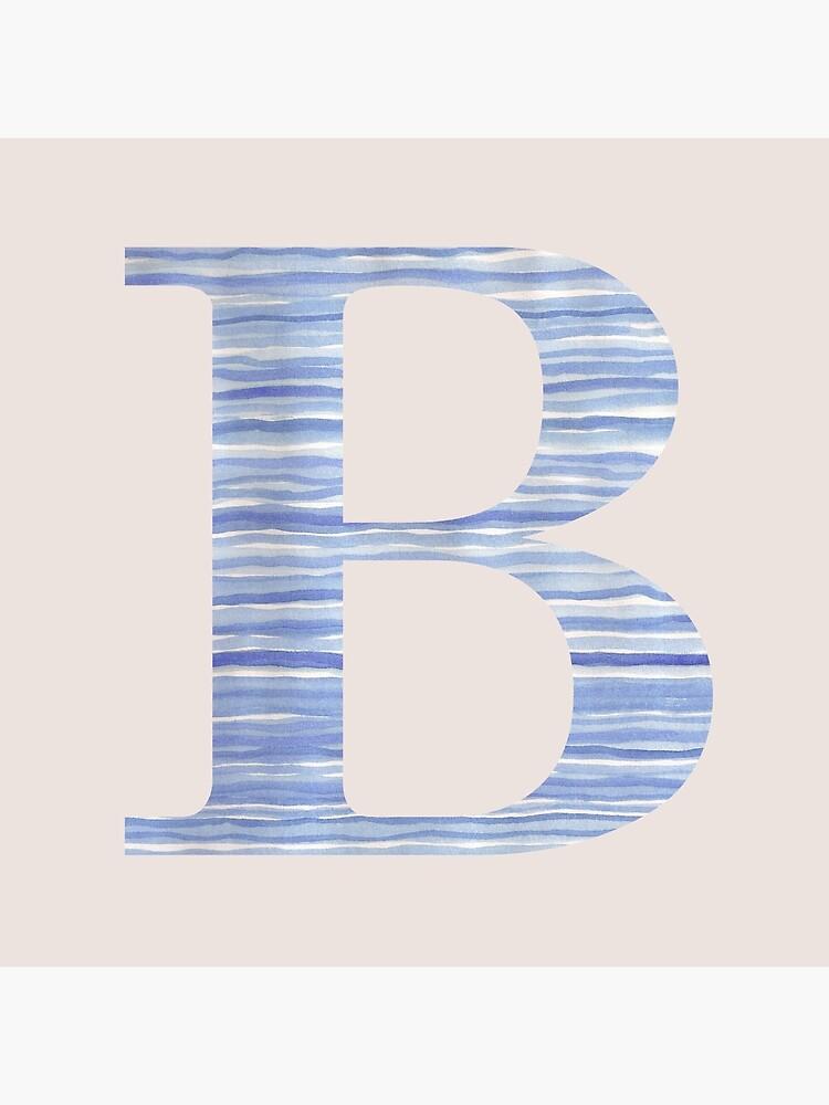 Letter B Blue Watercolor Stripes Monogram Initial by theartofvikki