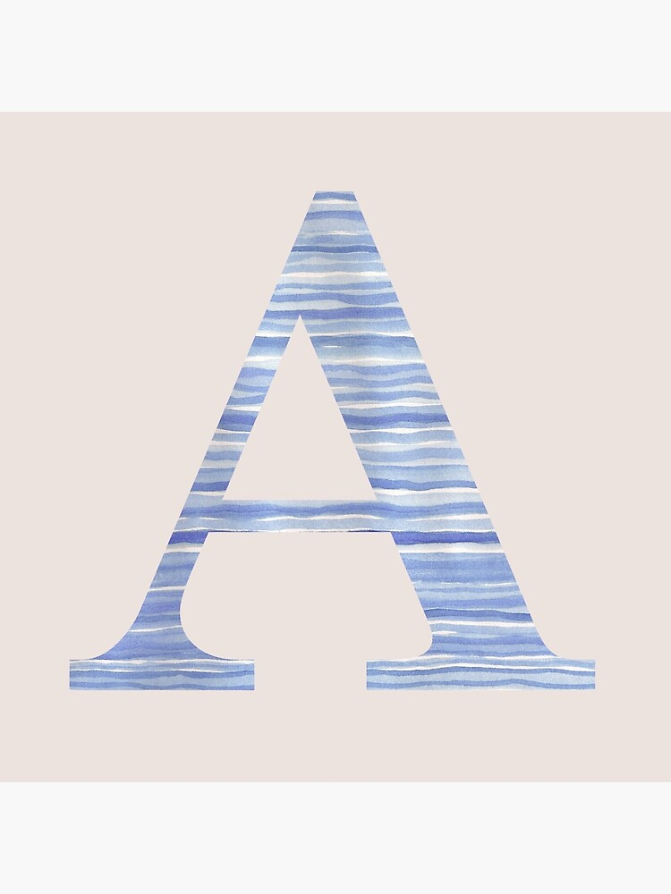 Letter A Blue Watercolor Stripes Monogram Initial by theartofvikki