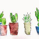 Handpainted funky cacti in pots by Jax Blunt