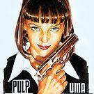 Pulp Fiction - Uma thurman portrait painting by Star Portraits Soutsos Art