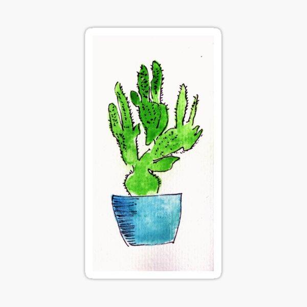 Single colourful cactus in blue pot Sticker