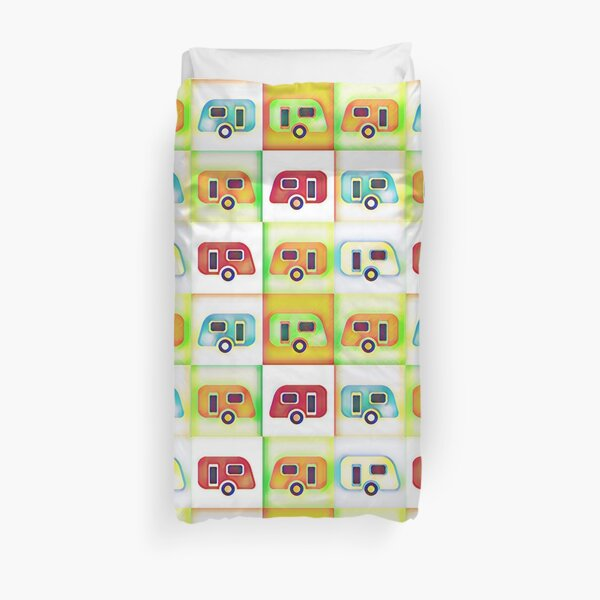 Cool Camping - Colourful Caravans Duvet Cover
