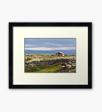 Small wooden cottage in Iceland landscape Framed Print