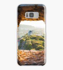 Old Windmill through Window in Fortress Wall Samsung Galaxy Case/Skin