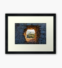 Old Windmill through Window in Fortress Wall Framed Print