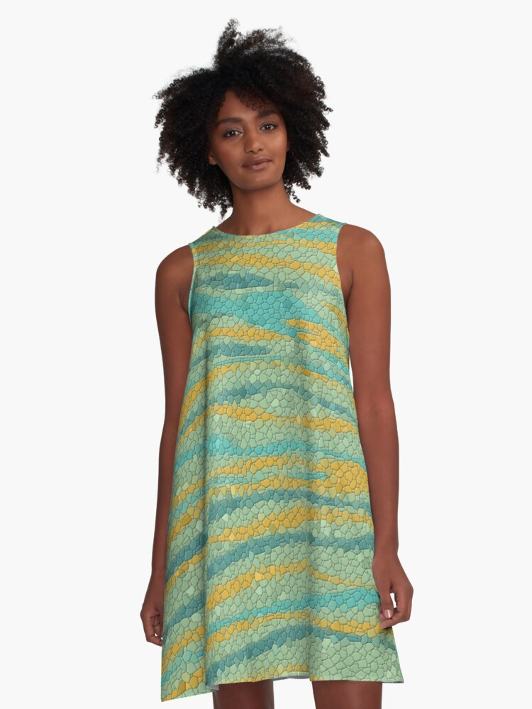 Waves in Sunset  A-Line Dress Front