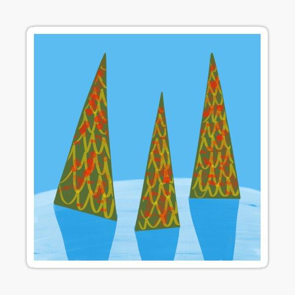 Three Modern Christmas Trees  Sticker
