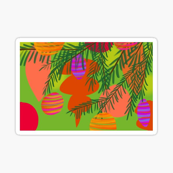 Mid Century Modern Christmas Ornaments 4 Sticker