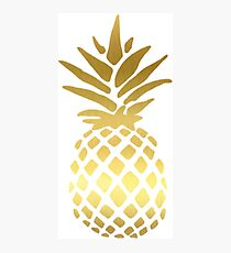 Metallic Gold Pineapple Design Sticker Photographic Print