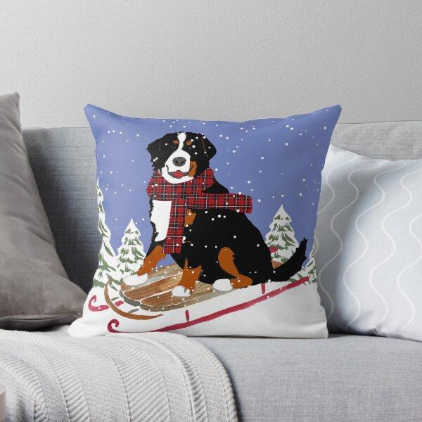 Bernese Mountain Dog Sledding Throw Pillow
