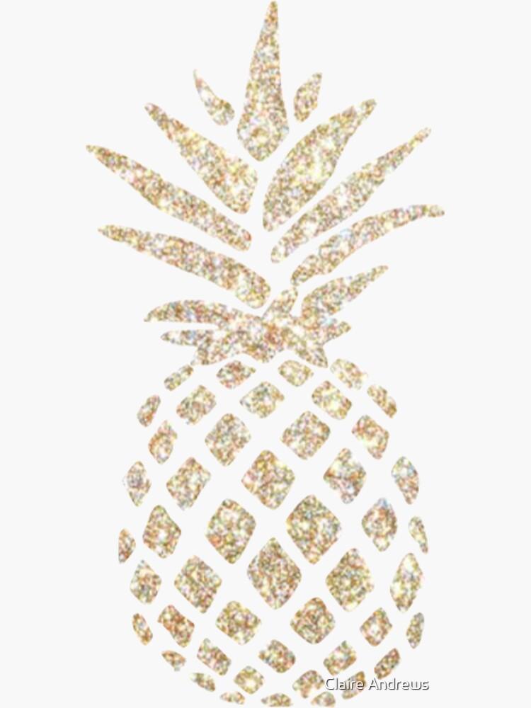 Sparkly Gold Pineapple Design Sticker by Claireandrewss