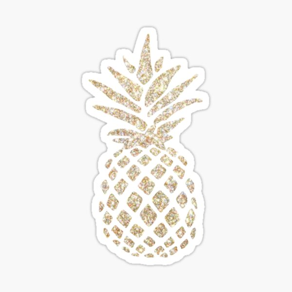 Sparkly Gold Pineapple Design Sticker Sticker