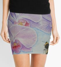 Bee aproaching Phalaenopsis Orchid Mini Skirt