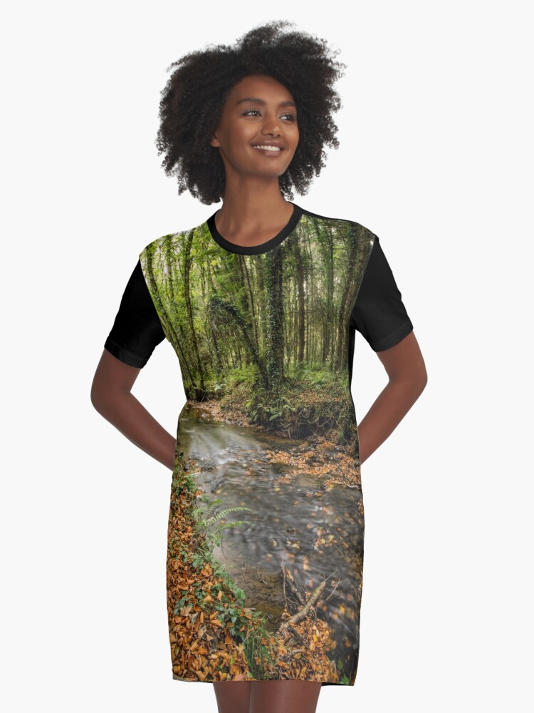Autumnal Stream Graphic T-Shirt Dress Front