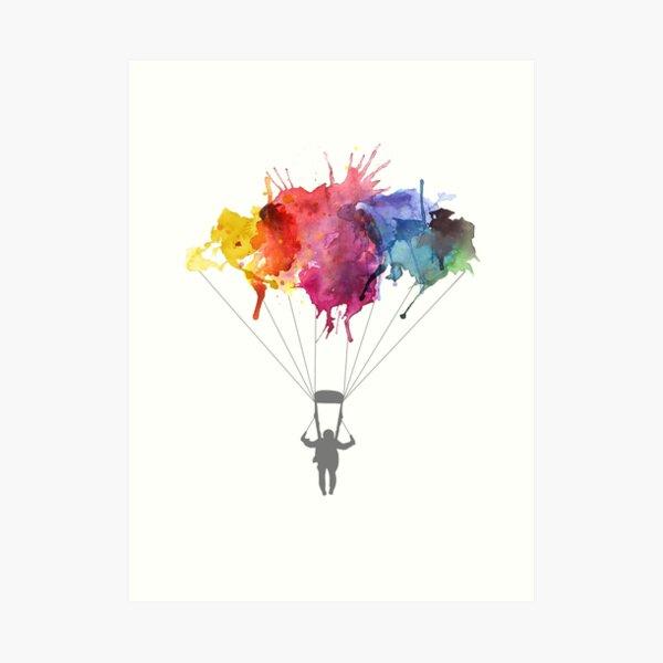 Skydiving, Skydiver parachute, parachuting. Watercolor Illustration Art Print