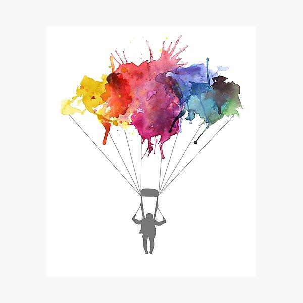 Skydiving, Skydiver parachute, parachuting. Watercolor Illustration Photographic Print