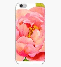 Watercolor Peach Peony iPhone Case
