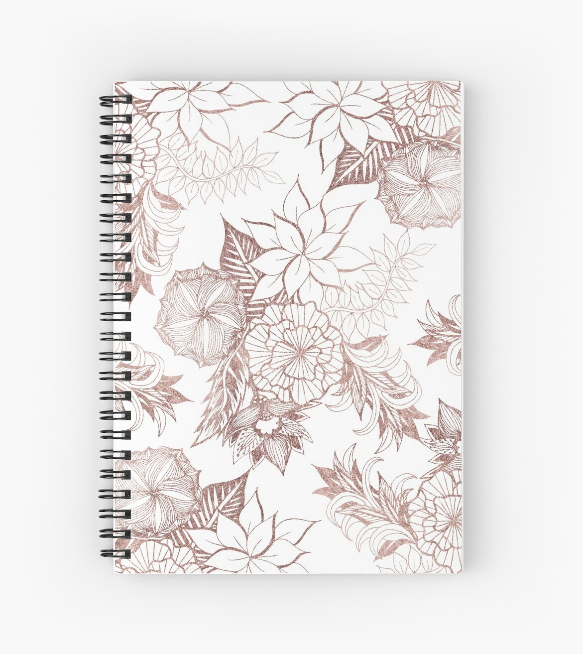 Modern Girly Rose Gold Floral Illustrations Spiral Notebook By