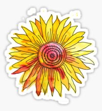 Watercolour and Ink Sunflower Mandala Sticker