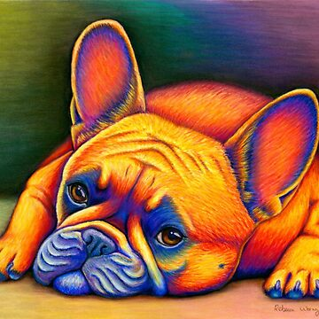 Colorful French Bulldog Rainbow Dog Pet Portrait by lioncrusher