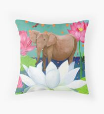 Elephant and Lotuses from a Dream Throw Pillow