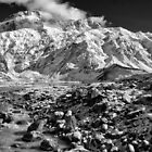 Mt Sefton above Mueller Lake B&W by Charles Kosina
