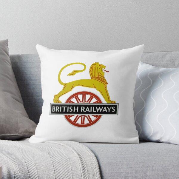 British Railway Lion on Bicycle Emblem Throw Pillow