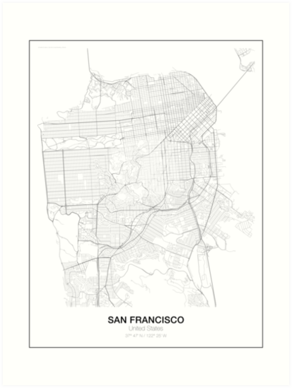 San francisco minimalist map art prints by resfeber redbubble san francisco minimalist map by resfeber solutioingenieria Image collections