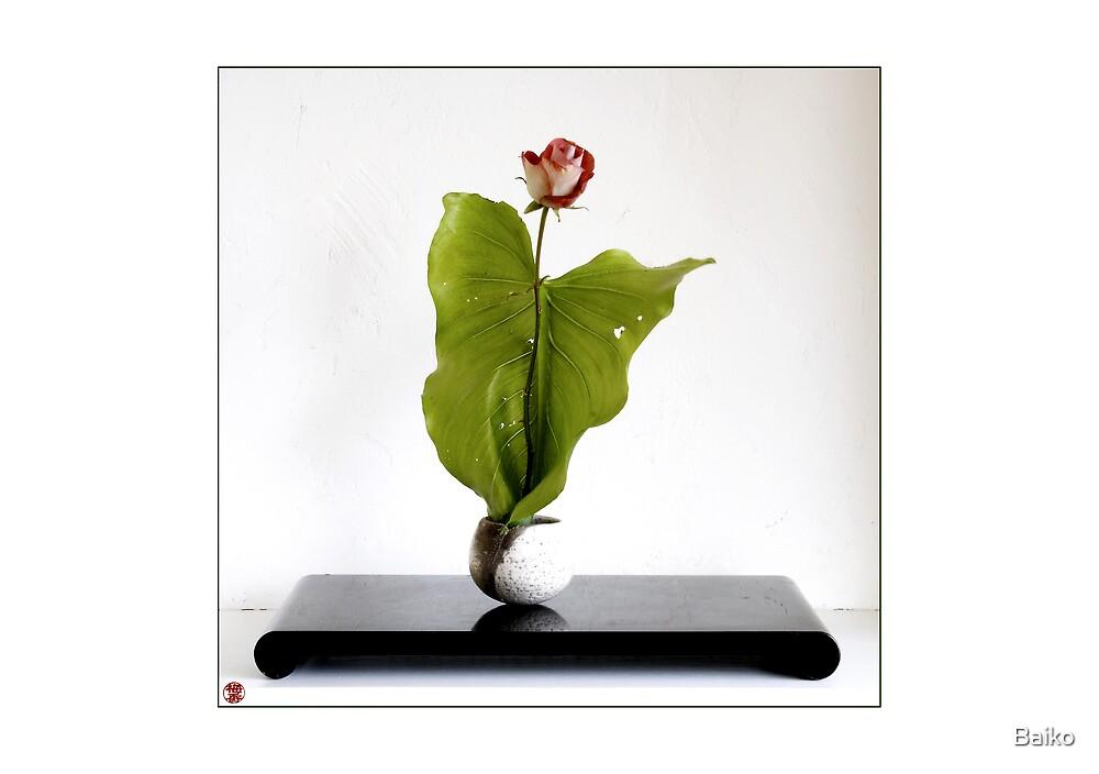 Ikebana-017 Greeting Card by Baiko