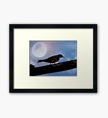 The Bird The Wire And The Moon Framed Print