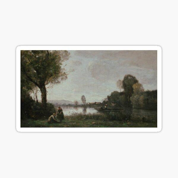 Seine Landscape near Chatou by Jean-Baptiste Camille Corot Sticker
