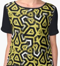 Gold Black White Abstract Patterns Chiffon Top