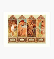 Alphonse Mucha Four Seasons Art Nouveau Art Print